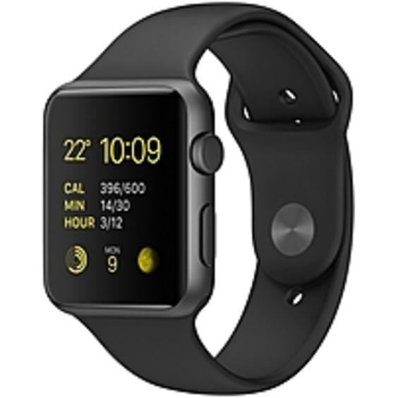 Apple Watch Sport Smart Watch - Wrist - Optical Heart Rate Sensor, Accelerometer, Gyro Sensor, Ambient Light Sensor - Bluetooth - Bluetooth 4.0 - Wireless LAN - IEEE 802.11b/g/n - 18 Hour - 1.65 - 0.41 - 1.41 - Space Gray, Black - Anodized Aluminum Cas