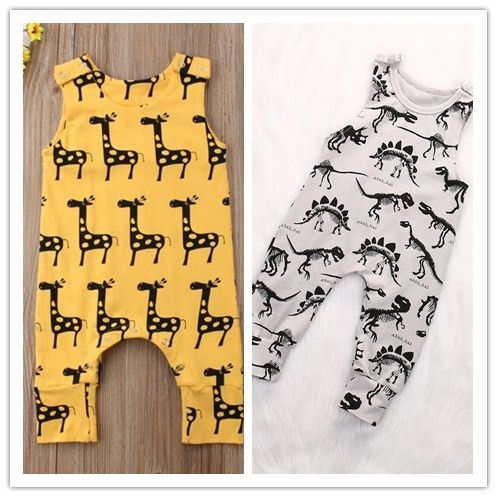 Genlei Baby Boy Dinosaur//Giraffe Romper Newborn Infant Sleeveless Cartoon Animal Print Jumpsuit Summer Outfit 0-24M