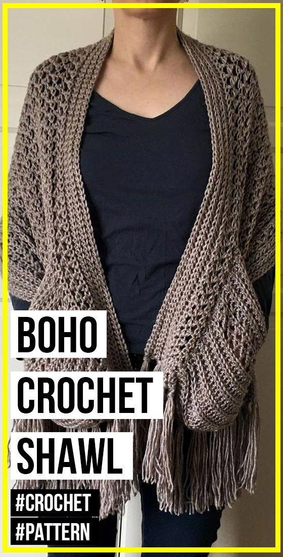 Boho Crochet Shawl With Pockets And Fringe Pattern Crochet Shawl Easy Boho Crochet Boho Crochet Patterns