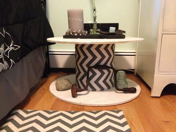 Spool. Wrapped in chevron fabric and painted white. Perfect nightstand! #upcycle