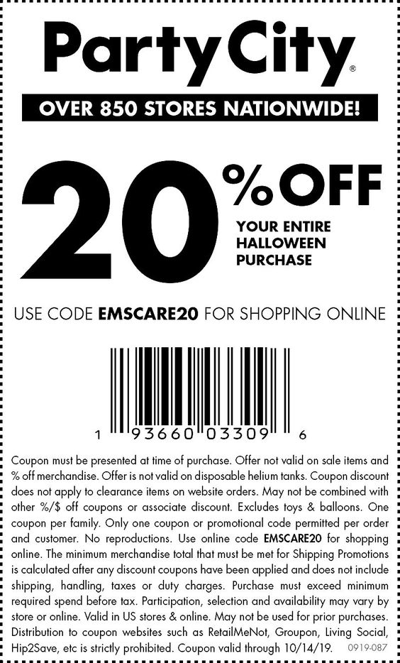 Pinned October 13th 20 Off Halloween At Partycity Or Online Via Promo Code Emscare20 Thecoupons Party City Kids Party Supplies Kids Birthday Party Supplies