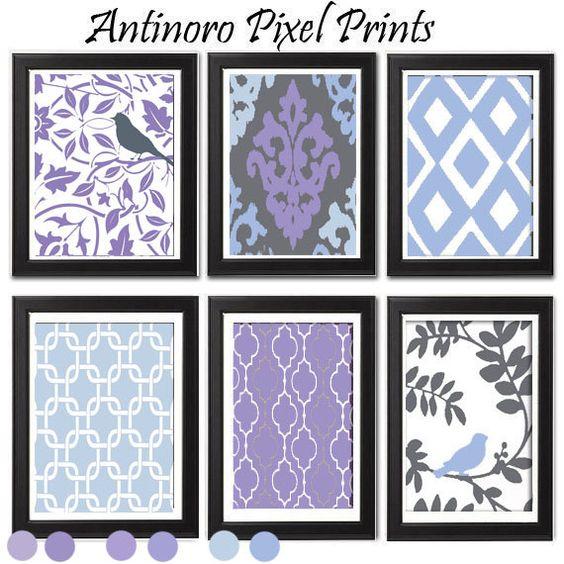 Shorty laundry ideas~ Purples and Blues Wall Art Vintage / Modern inspired Art Prints Collection -Set of 6 - 8 x 11 Prints - (UNFRAMED) antinoropixelprints  Handmade in the USA in a smoke and pet free environment