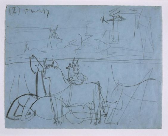 Estudio de composición (II). Dibujo preparatorio para «Guernica»
