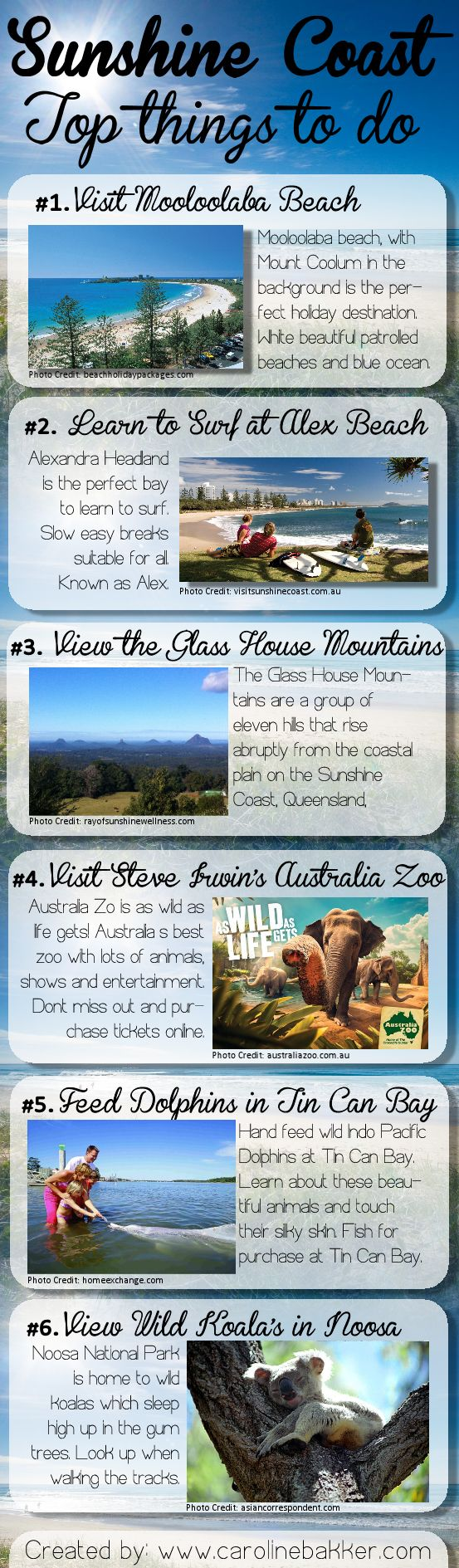 #Sunshine Coast Top Things To Do    Today I have created an infographic kind of image to show you the best #Queenland's Sunshine Coast has to offer. I am a local on the Coast and love the life, the nature, the beaches and everything else the Coast has offer. http://www.carolinebakker.com/sunshine-coast-qld-top-things-to-do