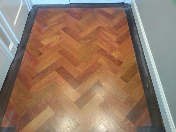 Custom Mahogany Floor in Herringbone pattern with Walnut Border