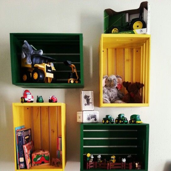 DIY John Deere Nursery shelves!! Wooden milk crates and farm equipment paint!!
