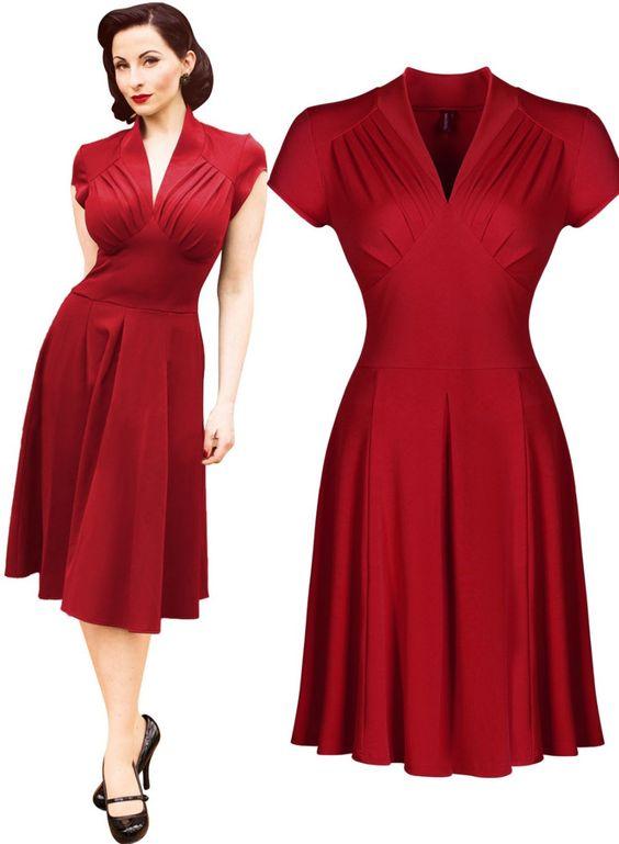 Mujeres libres del envío de estilo Vintage Retro 1940 s de la blusa evasé noche vestido de oscilación Skaters del vestido de bola 3188 en Vestidos de Moda y Complementos Mujer…