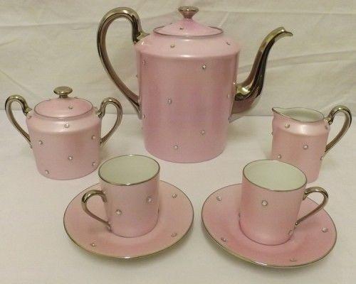 Ltd Edition Design Sophie Villepigue Paris Pink Crystal Limoges Coffee Tea Set #DesignSophieVillepigue