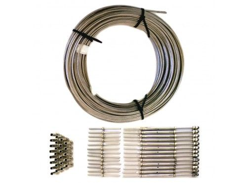 Cable Railing Kit Includes 1 8 In Stainless Steel Cable 13 Sets Of Threaded Turnbuckles For Wood Or Steel Cable Railing Deck Railing Stainless Steel Cable