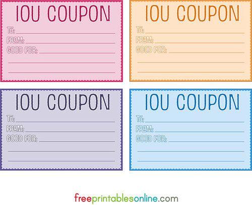 Colorful Free Printable Iou Coupons Free Printables Online Coupon Template Templates Printable Free Printable Vouchers