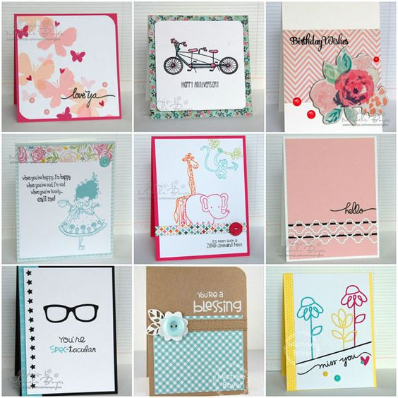 Collage of nine samples of easy card making ideas: