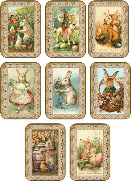 Details About Vintage Easter 8 Bunny Rabbit Antique Pictures Tags