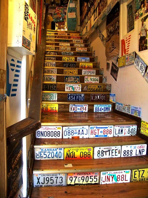License plate stairs: