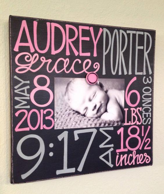 Baby Birth Information Canvas Frame 12x12