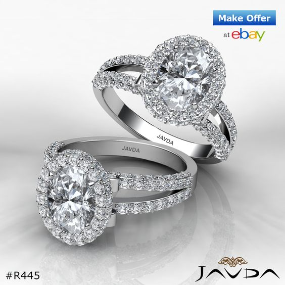 2.4ct Glistening Oval Diamond Engagement Ring H SI1 GIA Certified 14k White Gold.