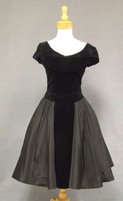 Black Taffeta & Velveteen 1950's Cocktail Dress w/ Shelf Bust