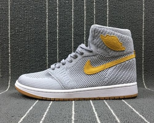 Buy Air Jordan 1 Flyknit Wolf Grey Yellow Golden Harvest