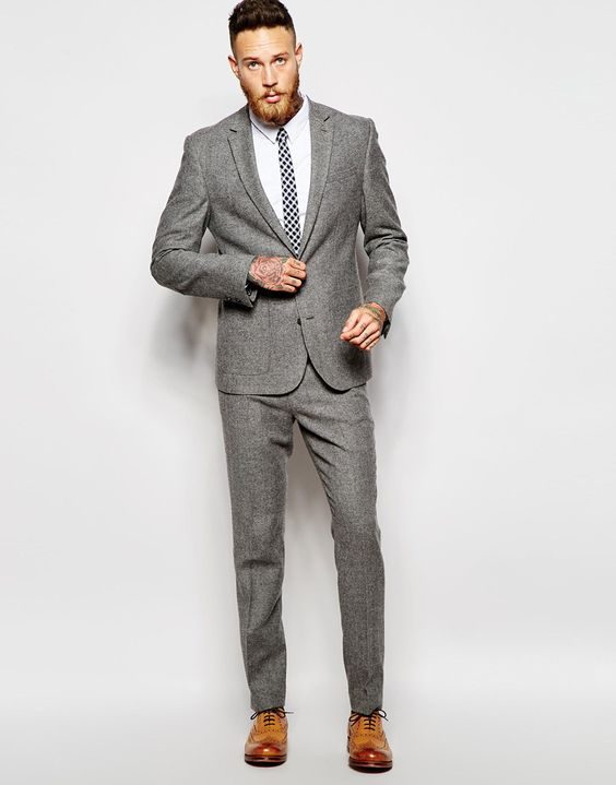 ASOS Slim Fit Suit in Gray Tweed | $114 | AP Shop | Pinterest