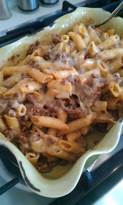 Taco Pasta Bake - OH MY!!! must try! 3/4 bag ziti noodles,1 lb of ground beef, 1pkg taco seasoning, 1cup water, 1/2 pkg cream cheese, 1 1/2 cup shredded cheese - boil pasta, brown ground beef drain, mix taco seasoning 1 cup water w/ ground beef for 5 min, add cream cheese to beef mixture, stir until melted remove from heat, put pasta in casserole dish, mix in 1 cup cheese, top pasta/cheese with beef mixture gently mix, top w/ remaining cheese, bake at 350* uncovered for 15-20 minutes