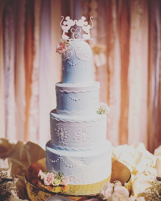 「Today's Wedding Cake Wednesday feature is lovely in lace!  #Disney #cake #lace」