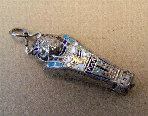 1920's Egyptian Sargophagus Silvern Enamel Charm Pendant | eBay