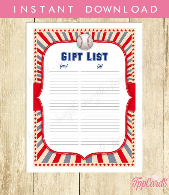 Instant Download Baseball Baby Shower Gift Registry Printable Gift List Red Blue Grey Baseball Theme Baby Shower Gift Tracking Sheet by TppCardS #tppcards