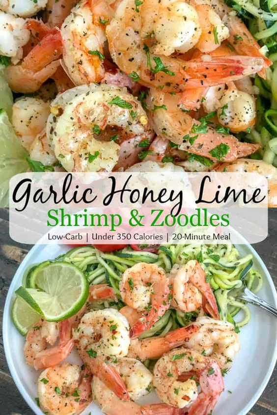 Garlic Honey Lime Shrimp And Zoodles