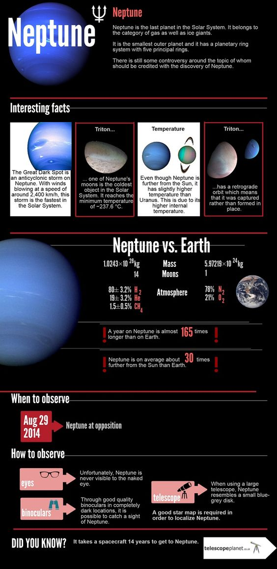Infographics; The Solar System; Neptune; Description and observation tips