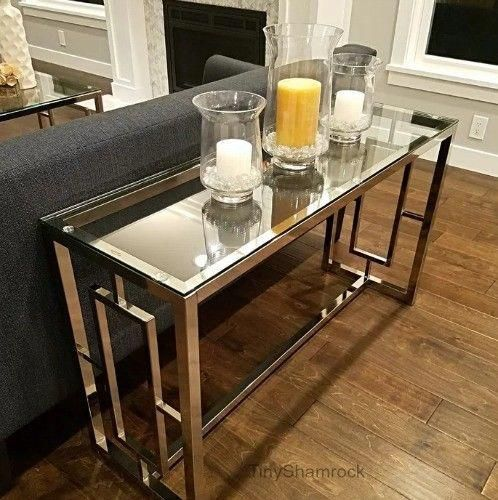 Chrome Console Table Glass Top Luxury Glamour Entry Hall Living Room Furniture L Modern Furniture Living Room Turquoise Living Room Decor Hall And Living Room