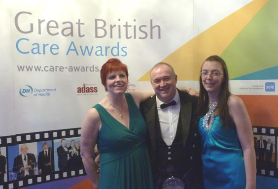 Helga (L), Martin (centre) and Carly (R) were national finalists at the 2013 Great British Care Awards - Care Homes.  They reached the finals by winning their cateogy in their region.At the glitzy event on Saturday 20th April, the three were each finalists in the same category - Putting People First.   We're all about the people we support so it was great to get so much recognition in this category.