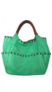 Green Woven Leather Tote