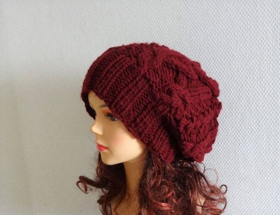 Handmade Knit Cable Hat Beanie Slouchy Hat Beanie Large Men