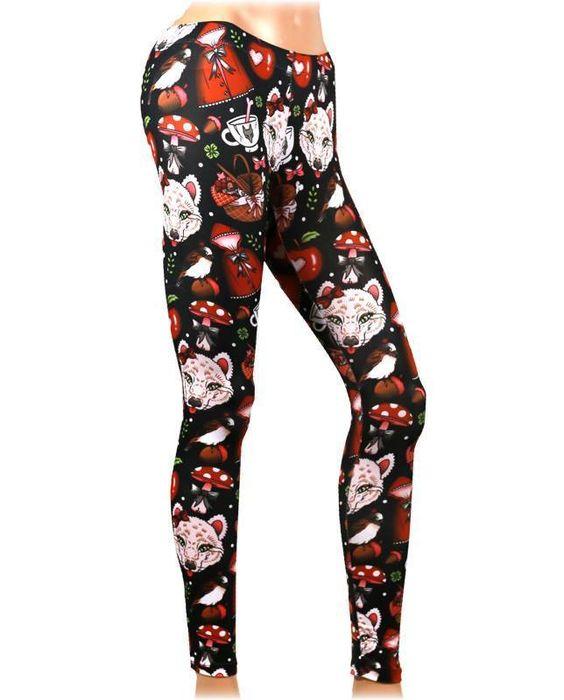 Liquor Brand Damen LITTLE RED Leggings.Tattoo,Pin up,Oldschool,Rockabilly Style