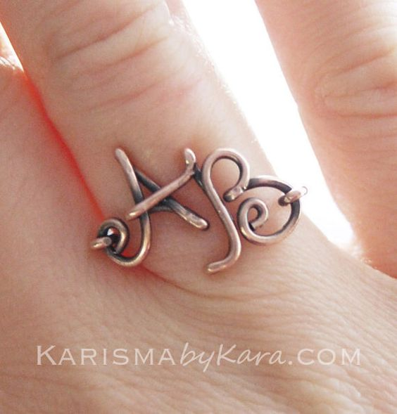 Double Initial Ring. Copper. Custom. Letter. Oxidized.  Wire Jewelry by Karismabykarajewelry on Etsy https://www.etsy.com/listing/162110995/double-initial-ring-copper-custom-letter