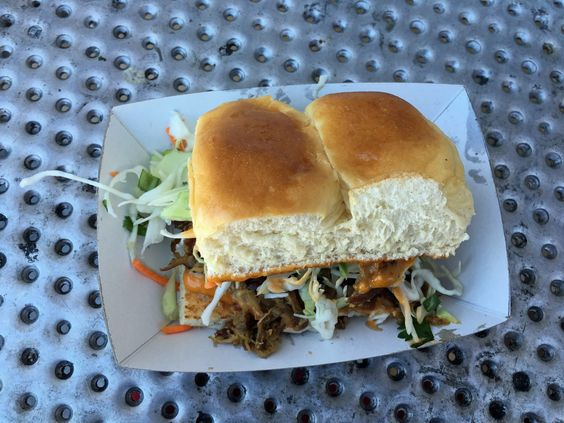 The Kahlua pork slider is my go-do dish. It includes a messy, crunchy mix of cabbage and secret sauce as well as Hawaiian sweet rolls.