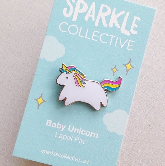 Baby Unicorn Enamel Lapel Pin - Resin-Coated Silver Metal - Cute Rainbow Illustration by Sparkle Collective