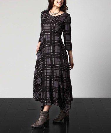 Charcoal Plaid Handkerchief Maxi Dress - Plus #zulily #zulilyfinds