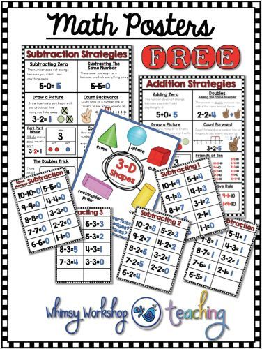 Free Math Strategies Posters for addition, subtraction and geometry.