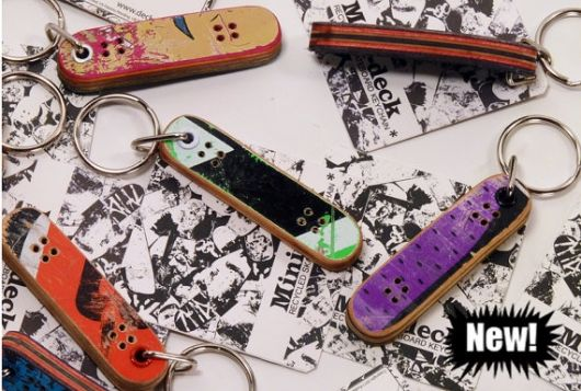 cute keychains made from recycled skateboards