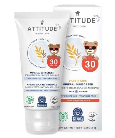 Attitude Sensitive Skin Kids Sunscreen Spf 30 Fragrance Free 2 6 Ounce In 2020 Mineral Sunscreen Baby Sunscreen Fragrance Free Products