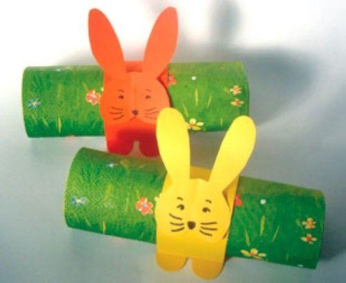 Kostenlose bastelvorlage ostern serviettenhasen zum for Weihnachtsdekoration basteln mit kindern