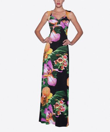 Another great find on #zulily! Black & Purple Floral Sleeveless Maxi Dress #zulilyfinds