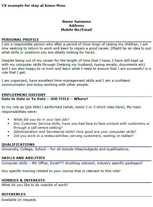 Cv Example For Stay At Home Mom Icover Org Uk Cv Examples