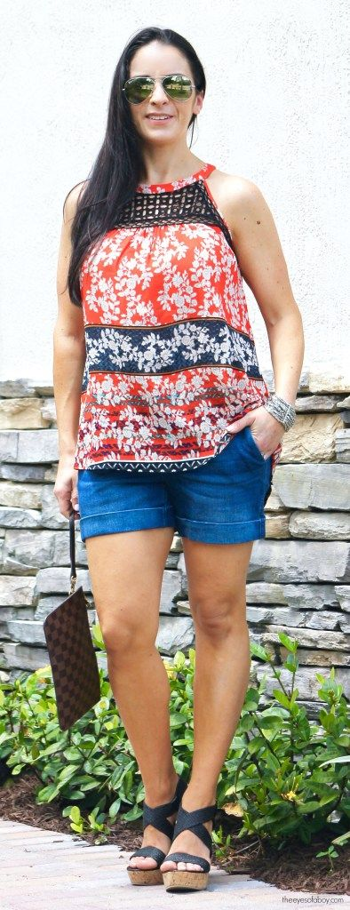 Dear John Finnegan Roll Cuff Short paired with Daniel Rainn Dakota Crochet Detail Halter Top from Stitch Fix review June July 2016 from Melissa at TheEyesofaBoy.com