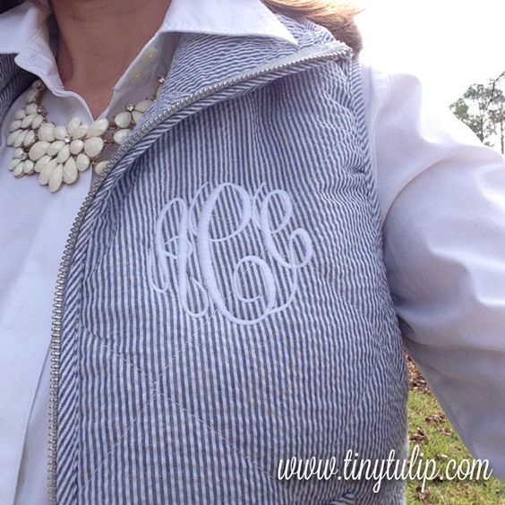 Seersucker Monogram Vest by Tiny Tulip. Check out this wonderful winter blue quilted vest at www.tinytulip.com
