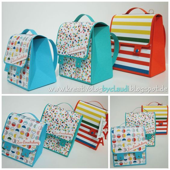 www.kreativblogbyclaudi.blogspot.de: Anleitung Schulranzen mit Punchboard