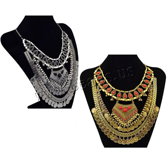 Vintage Coin Statement Necklace, Zinc Alloy, with Resin, with 2lnch extender chain, plated, rolo chain, more colors for choice, nickel