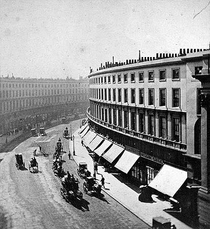 Regent Street, London c 1885  - I love this one - look at the symmetry of the buildings (and the clear road!) http://www.aboutbritain.com/towns/London.asp