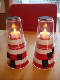 Plastic cups, white tape, a bit of glue, a battery operated tea lite and you can make your very own lighthouse! Use this idea to tell your family about their next trip to #Abaco, Bahamas! #HopeTownLodge #BetterInTheBahamas