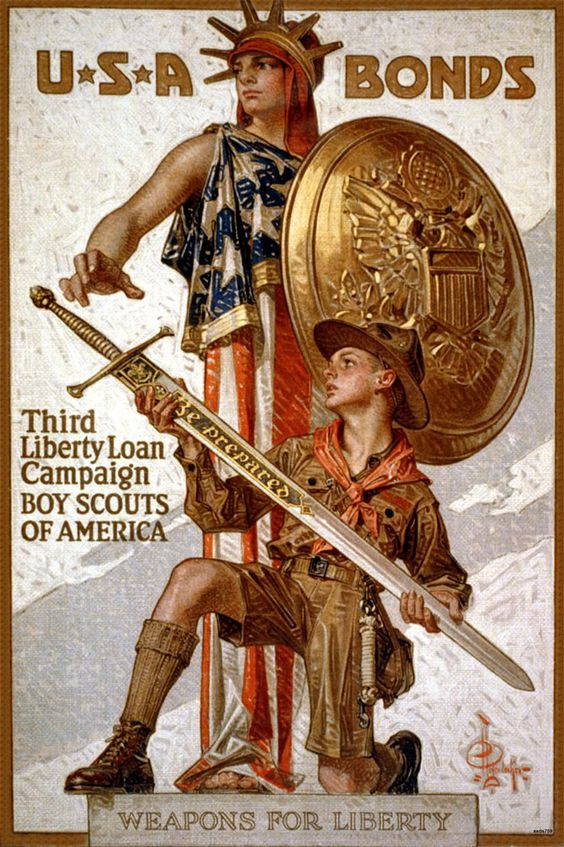 1915 AMERICAN BOY SCOUTS WAR BOND DRIVE ART by JC LEYENDECKER POSTER PRINT 759 | eBay